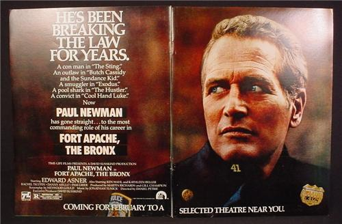 Magazine Ad For Fort Apache The Bronx Movie, Paul Newman, Ed Asner, 1981, Double Page Ad