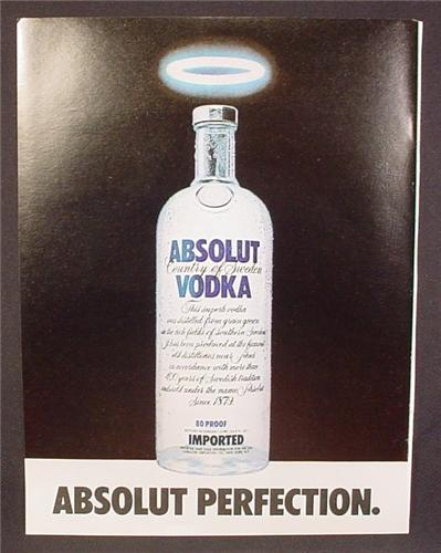 Magazine Ad For Absolut Perfection, Absolut Vodka, Bottle With A Halo, 1981, 8 1/8 by 10 7/8