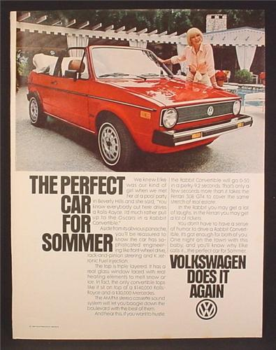 Magazine Ad For VW Volkswagen Rabbit Convertible, Elke Sommer, Celebrity Endorsement, 1981