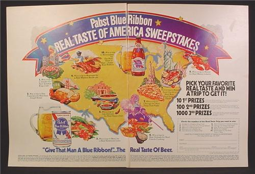 Magazine Ad For Pabst Blue Ribbon Beer Real Taste Of America Sweepstakes, 1981, Double Page