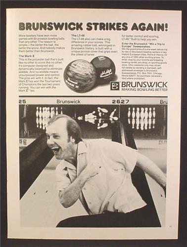 Magazine Ad For Brunswick Bowling Balls, The Mark Z, The LT-48, LT 48, 1981, 8 1/8 by 10 7/8