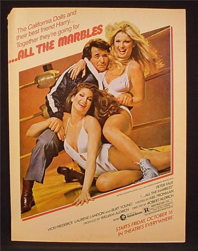 Magazine Ad For All The Marbles Movie, Peter Falk, Female Wrestling Team, Poster, 1981