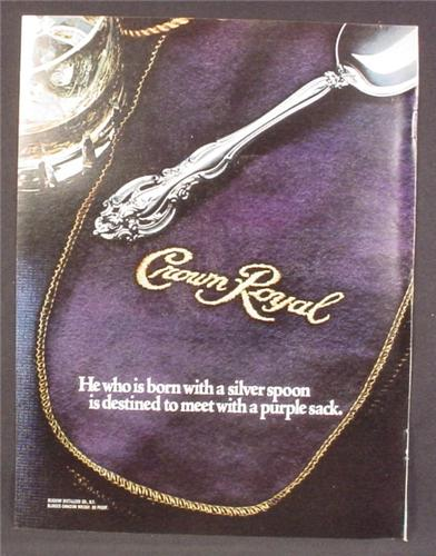 Magazine Ad For Crown Royal Whiskey, Destined To Meet With A Purple Sack, Whisky, 1981