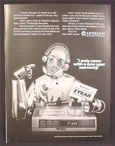 Magazine Ad For Hitachi Video Cassette Recorder, Star Wars Style Robot, 1981