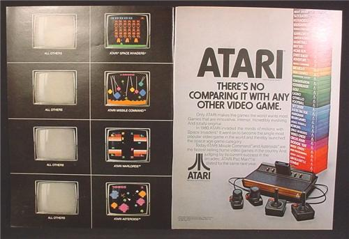 Magazine Ad For Atari Game System, 38 Game Cartridges Stacked Up, 1981, Double Page Ad