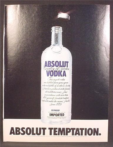 Magazine Ad For Absolut Temptation, Absolut Vodka, Bottle With Silver Lid Flying Off, 1981