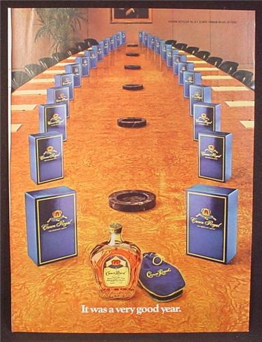 Magazine Ad For Crown Royal Whiskey, Boardroom Table with Boxes At Each Chair, Whisky, 1982