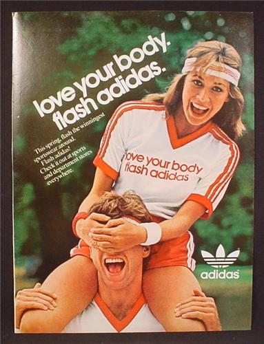Magazine Ad For Adidas Clothing, Love Your Body, Flash Adidas, Cute Woman, 1982, 8 1/8 by 10 7/8