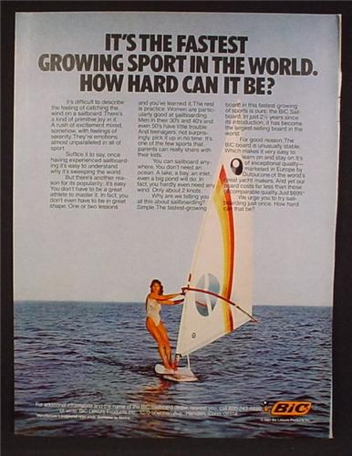 Magazine Ad For Bic Pens, Sailboarding The Fastest Growing Sport In The World, 1982