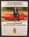 Magazine Ad For Chaz Fragrance, Tom Selleck, Ferrari Contest, Celebrity Endorsement, 1982