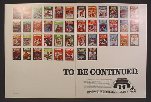 Magazine Ad For Atari Game System, 44 Game Cartridge Boxes, Front Of Boxes, 1982, Double Page