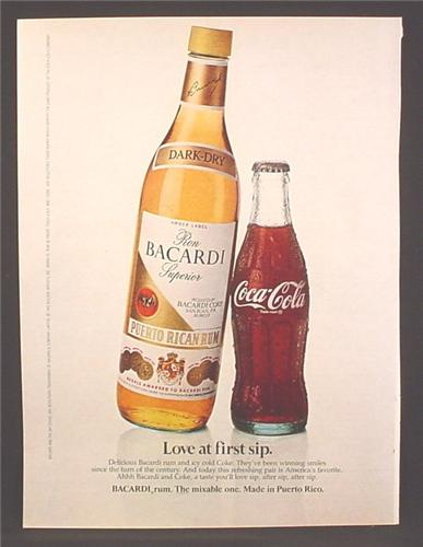 Magazine Ad For Bacardi Rum Bottle & Small Size Bottle of Coca-Cola, Coke, Love At First Sip, 1982