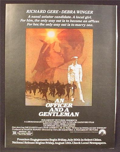 Magazine Ad For An Officer And A Gentleman Movie, Richard Gere, Debra Winger, Poster, 1982