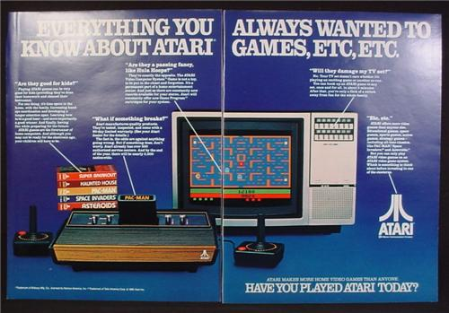 Magazine Ad For Atari Game System, Everything You Always Wanted To Know, 1982, Double Page