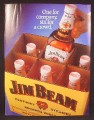 Magazine Ad For Jim Beam Bourbon Whiskey, 6 Large Bottles In Cardboard Case, 1982