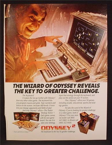Magazine Ad For Odyssey 2 Game System, Wizard Of Odyssey, Game Cartridges, 1982