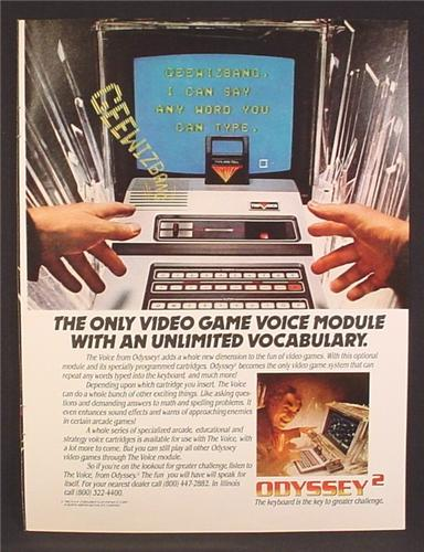 Magazine Ad For Odyssey 2 Game System, Voice Module With Unlimited Vocabulary, 1982