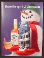 Magazine Ad For Jim Beam Bourbon Whiskey, Smiling Snowman With Glass Bottle & Box, 1983