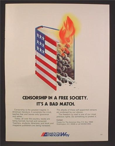 Magazine Ad For People For The American Way, Flag Matchbox Burning, Censorship, 1983