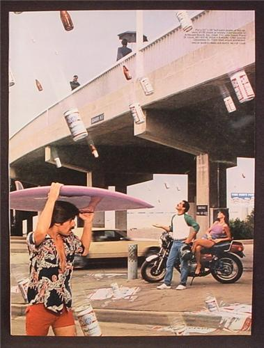 Magazine Ad For Budweiser Beer, Raining Beer Cans & Bottles, Cover Under Surfboard, 1983