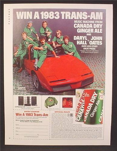 Magazine Ad For Canada Dry Ginger Ale, Win A Trans Am Contest, Daryl Hall & John Oates, 1983