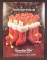 Magazine Ad For Canadian Club Whiskey, Lots of Boxes In Stockings, Knock Their Socks Off, 1984