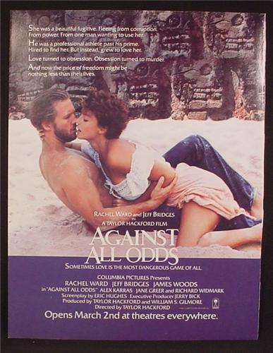 Magazine Ad For Against All Odds Movie, Rachel Ward, Jeff Bridges, Poster, Sexy, 1984