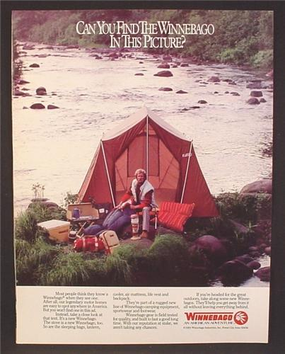 Magazine Ad For Winnebago Camping Equipment, Tent, Packs, Cookstove, Sleeping Bag, 1984