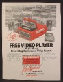Magazine Ad For U-Haul, Free Video Player, Haullywood Video Rentals, U Haul, 1985