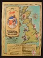Magazine Ad For Bass Ale, Beer, Legendary Pubs Sweepstakes, England Map With Pub Sites, 1985