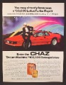 Magazine Ad For Chaz Cologne, Fragrance, Lotus Turbo Esprit Car Contest, 1985