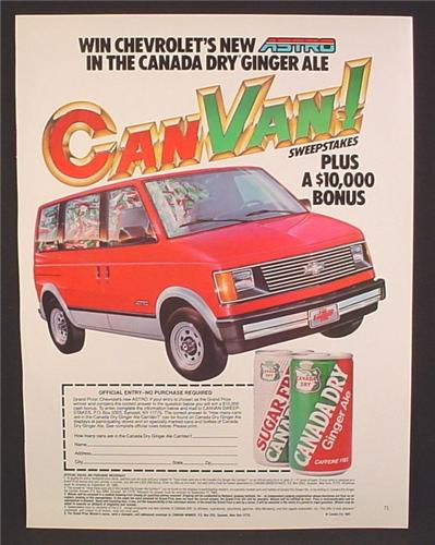 Magazine Ad For Canada Dry Ginger Ale, CanVan Sweepstakes, Chevrolet Astro Can Van, 1985