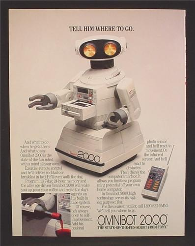 Magazine Ad For Tomy Omnibot 2000 Personal Robot & Controller, Tell Him Where To Go, 1985