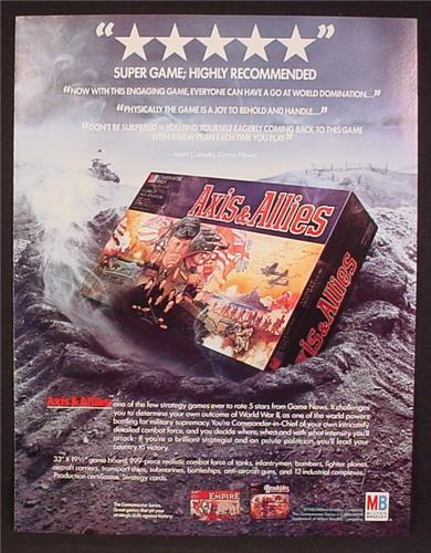 Magazine Ad For Milton Bradley Axis & Allies Strategy Game, Box In Bomb Crater, 1985