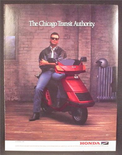 Magazine Ad For Honda Helix Elite Scooter, Red Motorcycle, Jim McMahon, Celebrity 1986