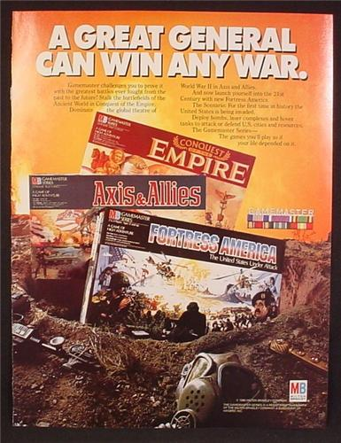 Magazine Ad For Milton Bradley Strategy Games, Fortress America, Conquest Of The Empire, 1986
