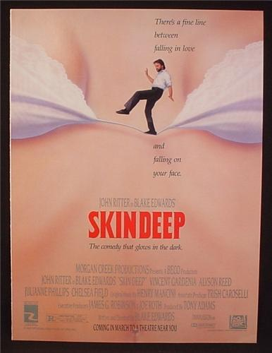 Magazine Ad For Skin Deep Movie, John Ritter, Blake Edwards, Poster, 1989, 8 1/8 by 10 7/8