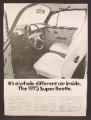 Magazine Ad For Volkswagen 1973 Super Beetle, Interior Picture, 1973, 8 1/4 by 11 1/8