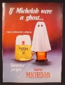 Magazine Ad For Michelob Beer, Ghost Shroud on Glass, Surprise People, 1973, 8 1/4 by 11 1/8