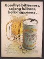 Magazine Ad For Country Club Malt Liquor Beer, Can With Pull Tab Top, 1973, 8 1/4 by 11 1/8