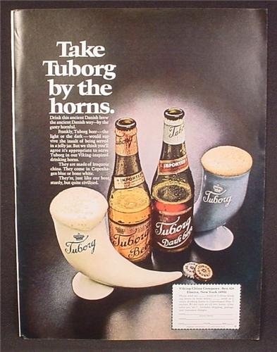 Magazine Ad For Tuborg Beer, Horn Glasses, Bottles & Caps, 1970, 8 1/4 by 11 1/8