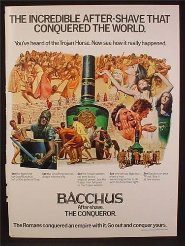 Magazine Ad For Bacchus After Shave Fragrance, The Conqueror, Roman Empire Illustrations, 1970