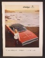 Magazine Ad For Dodge Charger Car, Top and Front View, Pretty Woman & Ocean, 1970