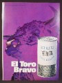 Magazine Ad For Schlitz Malt Liquor, El Toro Bravo, Beer, Can With Pull Tab Top, 1970