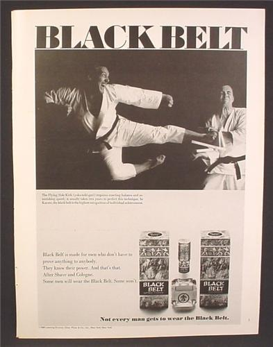 Magazine Ad For Black Belt After Shave & Cologne, Fragrance, Breaking A Board With A Kick, 1970