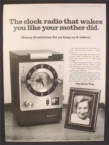 Magazine Ad For Sony Nag Clock Radio Alarm, Wakes You Like Your Mother Did, 1970