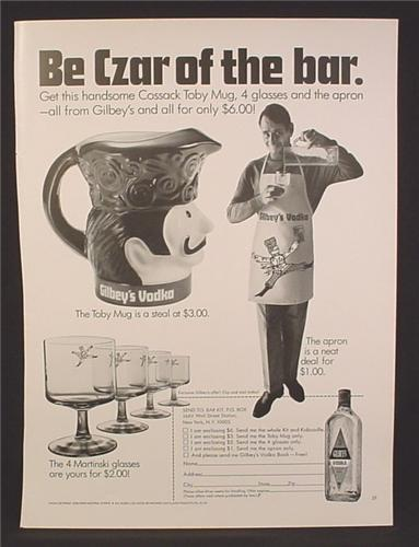 Magazine Ad For Gilbey's Vodka, Toby Mug, Martinski Glasses, Apron, Gilbeys, Czar Of The Bar, 1970