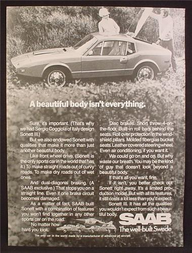Magazine Ad For Saab Sonett III Car, A Beautiful Body Isn't Everything, The Well Built Swede, 1970