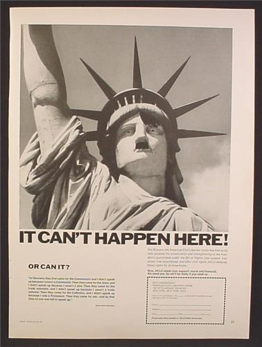 Magazine Ad For American Civil Liberties Union, Statue Of Liberty With Hitler Face, 1970