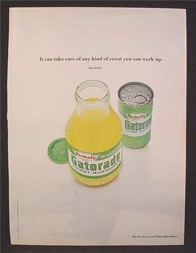 Magazine Ad For Gatorade, Bottle & Pull Tab Top Can, 1970, 8 1/4 by 11 1/8